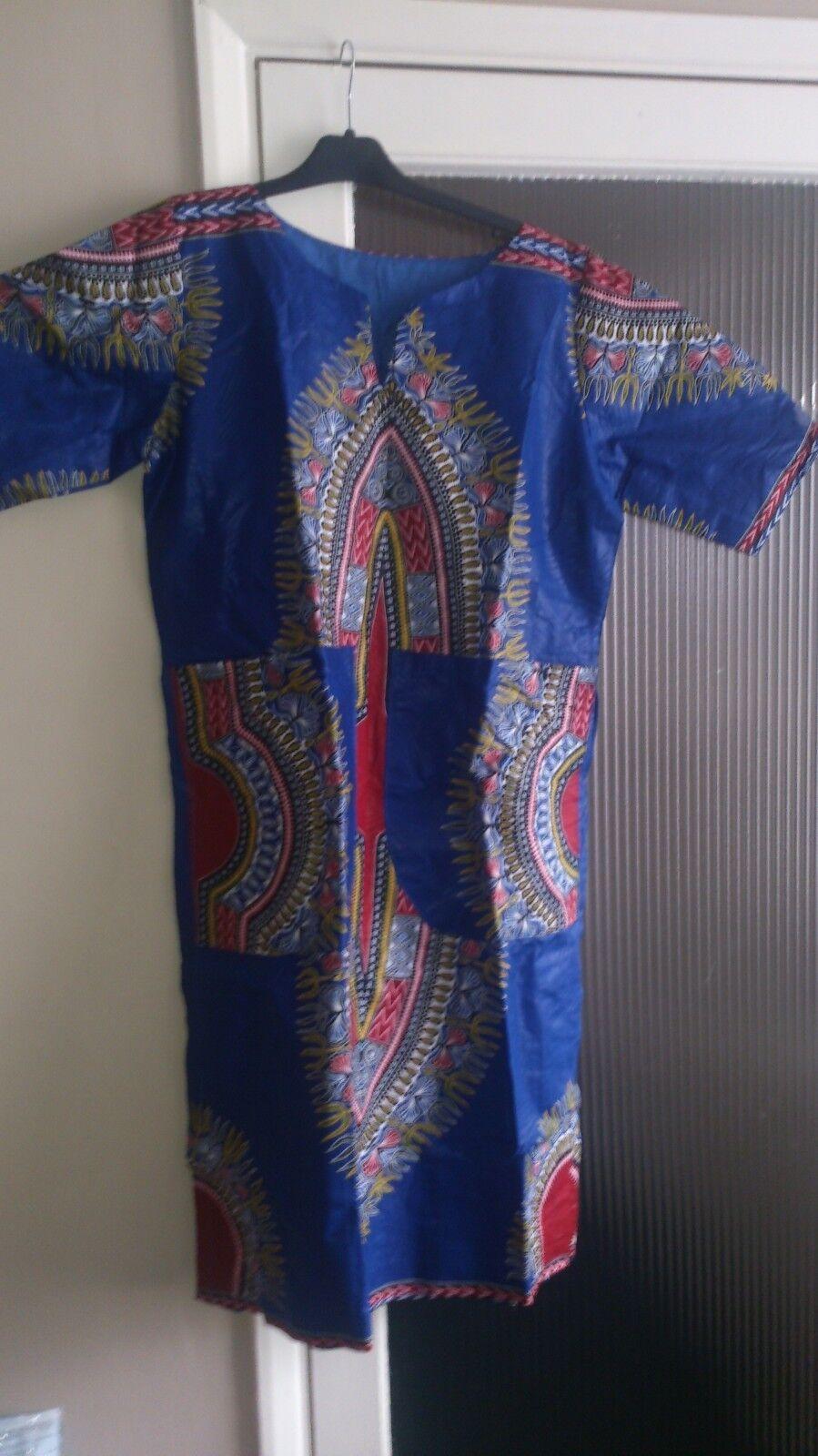 DRESSES AFRICAN TEXTILE KAFTAN DRESSES SIZE 16/18UK. BLUE COLOUR