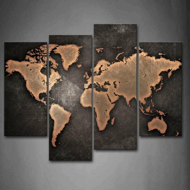 General World Map Black Background Wall Art Painting Pictures Print - World map canvas grey