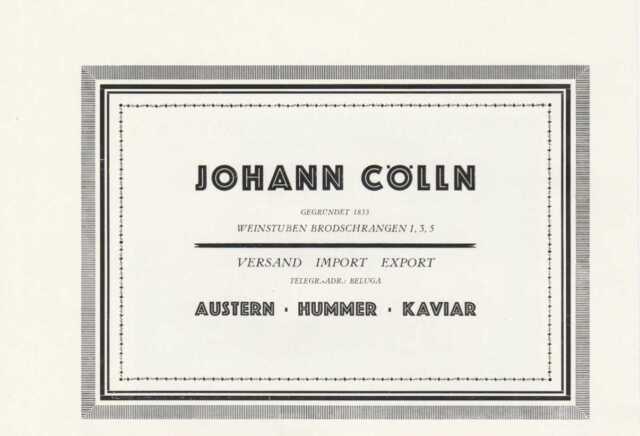 JOHANN CÖLLN Weinstuben Hamburg Original Reklame von 1926