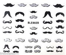 Nail Art Stickers Black Silver Glitter Moustache Movember Decoration Gel Polish