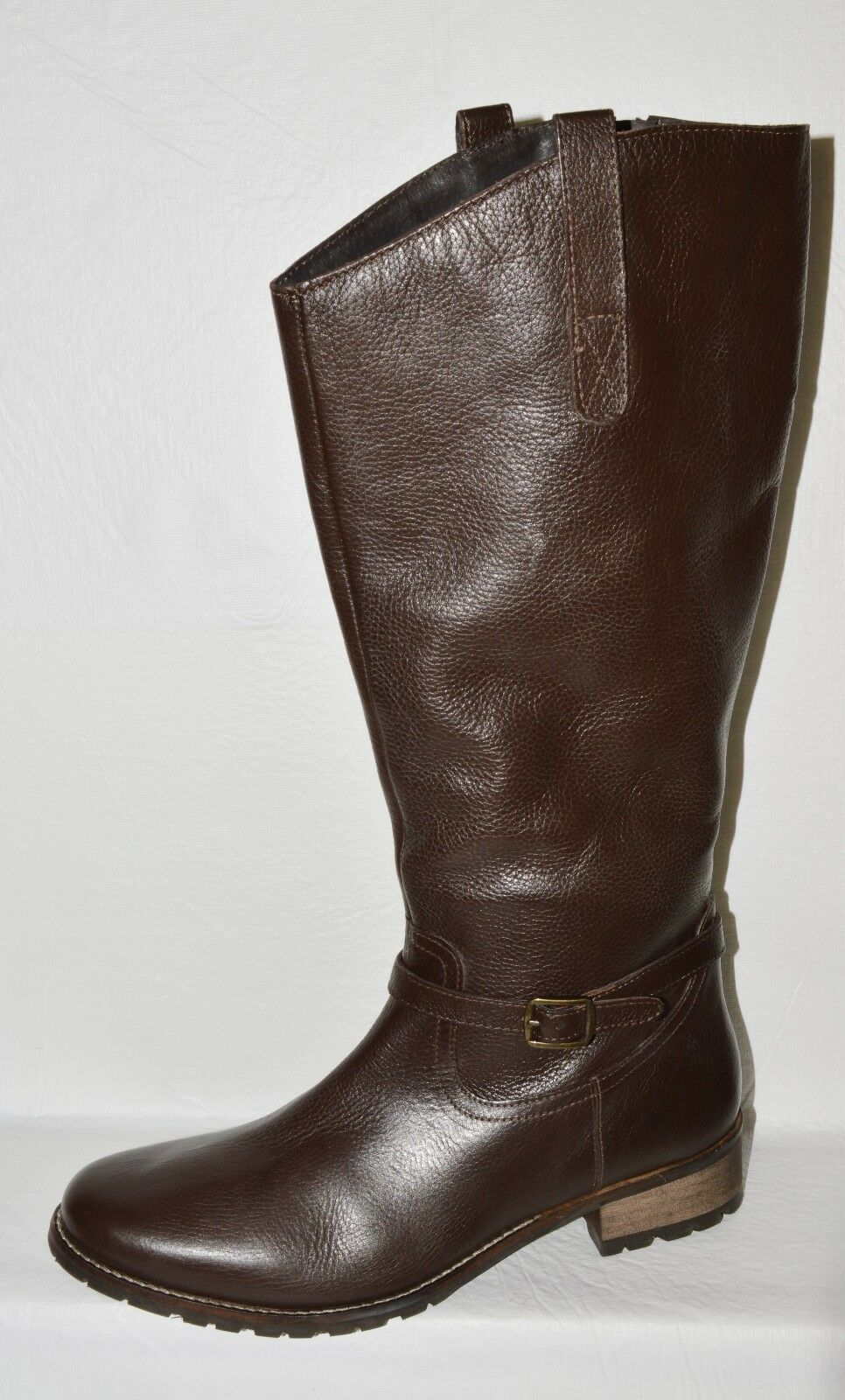 JOHNNIE B NEU SZ 10 10.5 M 41 BROWN LEATHER KNEE HIGH RIDING BOOTS WOOL LINED