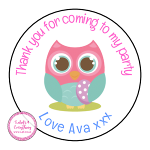 Personalised-Owl-Bird-Animals-Birthday-Thank-You-Party-Stickers-Sweet-Cones