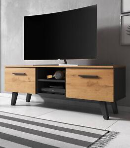 TV Lowboard Board Fernsehtisch Holz Hochglanz Schwarz LED Unterschrank Sideboard