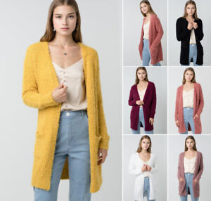 Soft-amp-Chunky-Mohair-Knit-Open-Cardigan-Sweater-Long-Sleeve-Pockets-Oversize