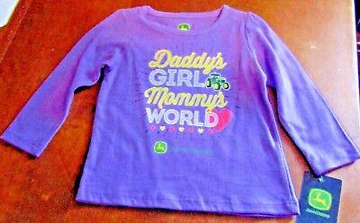 John Deere girls lavender long sleeve top w//DADDY/'S GIRL MOMMA/'S WORLD /& hearts