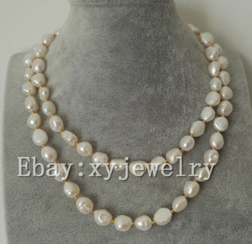 beautiful cultured 9-10mm white Baroque fresh water pearl necklace 16-50 inch