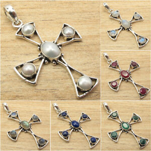 925-Silver-Plated-CROSS-Pendant-Natural-Gemstone-Vintage-Style-GIFT