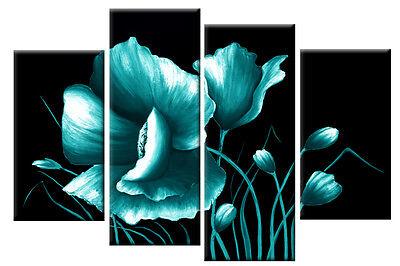TEAL ON BLACK FLORAL FLOWER CANVAS WALL ART PICTURE SPLIT MULTI ARTWORK 100cm