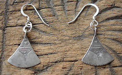 Silver Niger  Tuareg  hand engraved earrings with silver hooks