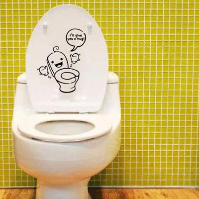 3PCS//SET Smiley Face Toilet Seat Stickers Bathroom Mural Decal Vinyl DIY