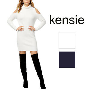 f5311455f8 Image is loading Kensie-Womens-Cold-Shoulder-Sweater-Dress