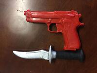 Plastic Rubber Training Red Gun And Knife Martial Arts Krav Maga Self Defense