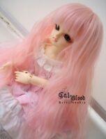 "6-7"" 1/6 BJD hair YO-SD Dollfie Curly Wig Pink long AOD DOD DL DZ Volks Luts DK"