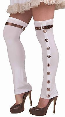 White Ladies SteamPunk Buckled Thigh High Boots Spats Steam Punk   - Fast Ship -