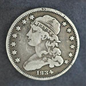 "1834 Capped Bust US Quarter Dollar Coin V.2 ERROR COIN ""O"" over ""F""  VG A-860"