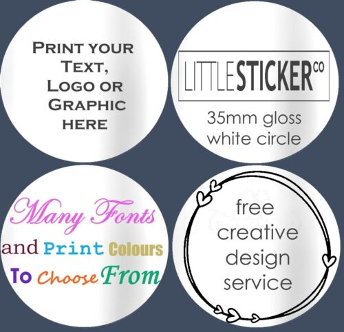 Gloss white Return Address Labels Personalised Circle Stickers customised 100