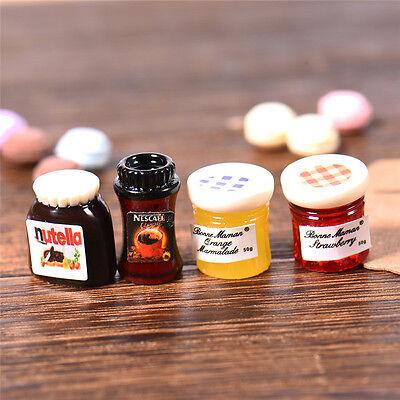 4PCS Dollhouse Miniature Jam Coffee Food DIY Doll House Kitchen Decor 1:12 Scale