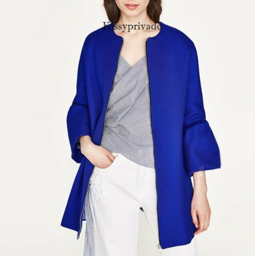 Bomull 889 Cobalt Blue Zara Frilled 2915 M Coat Ref Sleeve Bnwt OEBwv