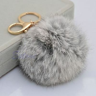 Rabbit Fur Ball PomPom Cell Phone Car Keychain Pendant Handbag Charm Key Ring