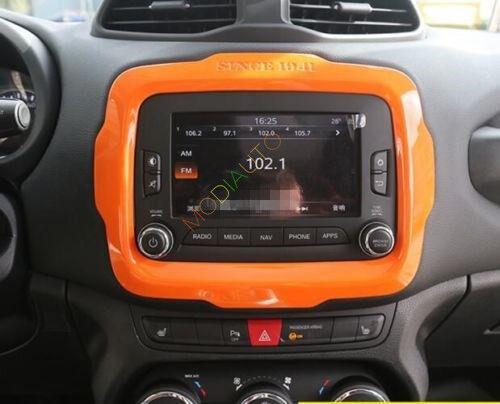 For Renegade 2015-2018 ABS Orange Auto Interior Dashboard Navigation Frame Trim