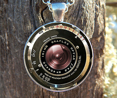 VINTAGE CAMERA Necklace PENDANT Antique Camera Lens Pendant Gray Black jewelry