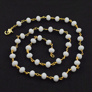 White-Moonstone-Hydro-Faceted-Gemstone-Wire-Wrapped-Rosary-Beaded-Chain-Necklace