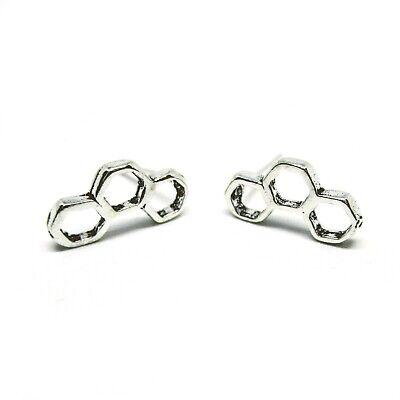 Solid 925 Sterling Silver Tiny Hollow 3 Beehive Hexagon Line Post Stud Earrings