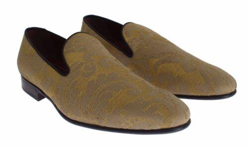 Etichetta Mocassini Seta Giallo Scarpe Oro Con Barocco Gabbana Nuova Dolce TwA58yq