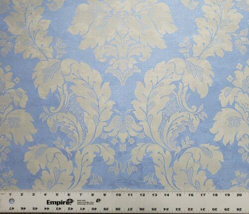 Vinyl Wallpaper Blue beige Rustic Victorian Vintage Damask wall coverings rolls