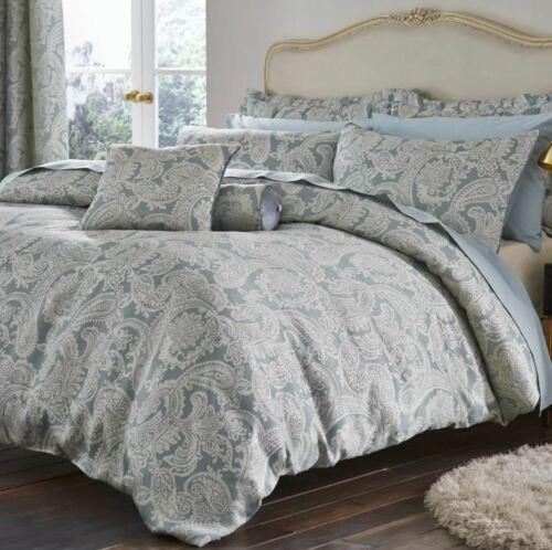 House Additions Opulent Jacquard Super King Duvet Set, Duck Egg Blue
