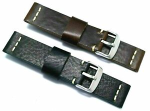 22mm Quality Brown or Black Genuine Leather Watch Band Silver Tone Matte Buckle