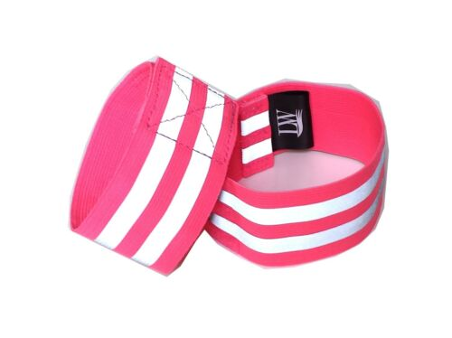 Yellow Pink Pair LW Reflective Ankle Band Wristband