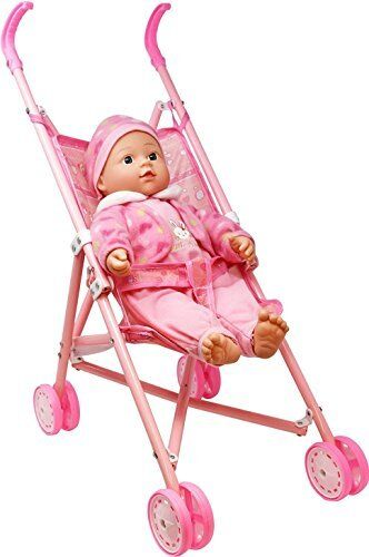 Baby Doll Stroller Play Set 16 Inch Soft Body and Folding Talking Plays 3 Sounds