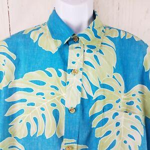 Cooke-Street-Hawaiian-Shirt-2XL-Turquoise-Blue-Big-Frond-Palm-Leaf-Reverse-Print