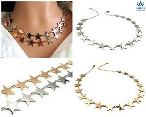 a basso costo 99402 961df Collana donna girocollo in acciaio inox 18 stelle stelline catena ...