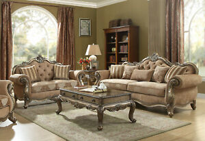 Details about Traditional Vintage Oak Living Room Furniture Set Brown  Fabric Sofa Loveseat RA6