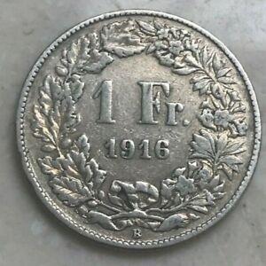 1916 Switzerland 1 One Franc - Silver