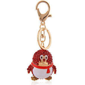 d55cc79db6b Winter Charms Accessories White Red Penguin Keyrings Bag House Key ...