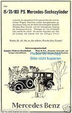 Mercedes Sechszylinder Reklame von 1926 15 70 100 PS 6 Zylinder Werbung ad