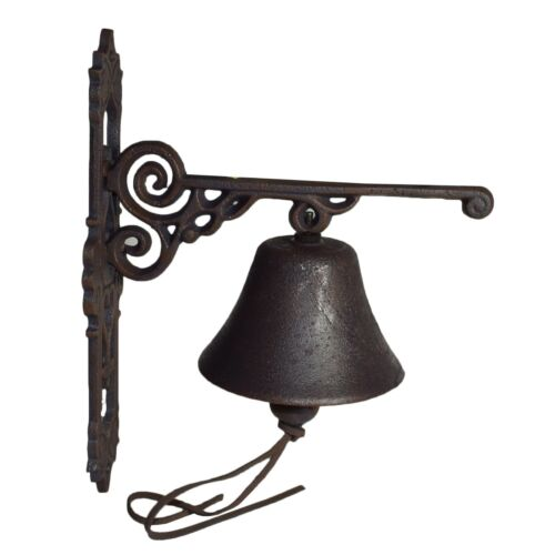 Old Fashioned Veteran Car Red Bell Gate Cast Iron Sign Plaque Door Wall House