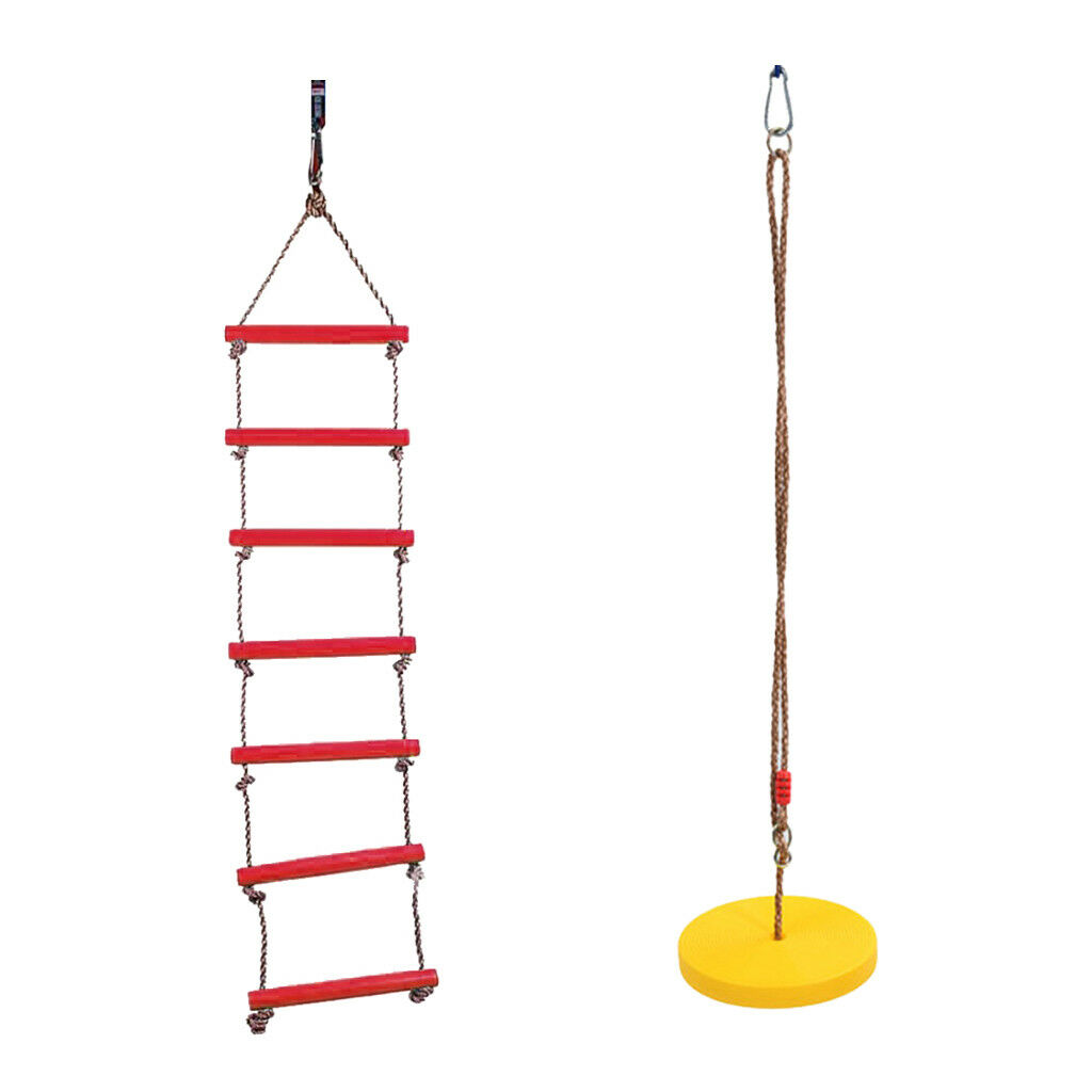 2Pcs 2Pcs 2Pcs Outdoor Tree Hanging Disc Rope Swing and Ladder Park Playing Toy Set 1d8fda