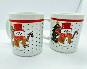 Snowman mugs Christmas Tree Green Dots Double Sided Christmas Mugs Lot of 2