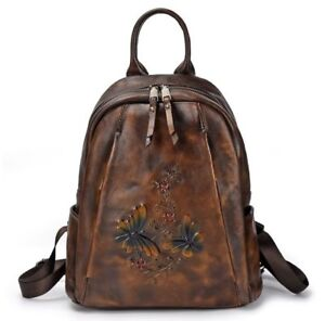 d9a3b14629 Retro Women Genuine Cow Leather Backpack Travel Bag Flower Embossed ...