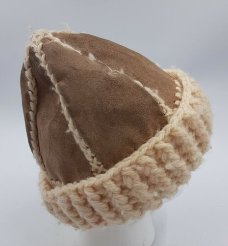Hand-Made Stitched Leather & Knit Beanie Mountain