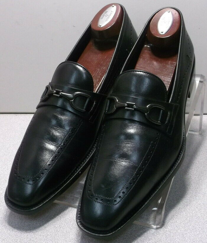 242065 PFi60 Men's Shoes Size 9 M Black Letaher Made in Italy Johnston & Murphy