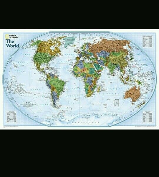 World Map National Geographic 20x30 Wall Poster Double Sided