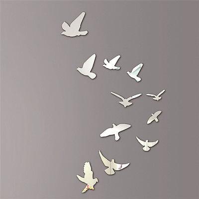 Acrylic Birds Design Mirror Effect Wall Sticker Modern Home Decor Decoration
