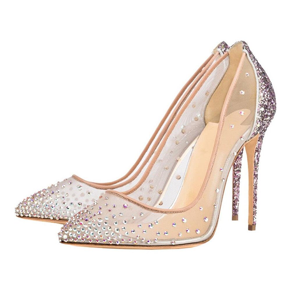 Europa Strass Sommer Damen Pumps High Heels Mesh Schuhe Schuhe Schuhe Hochzeit OL Pumps 34-45 35d2d0
