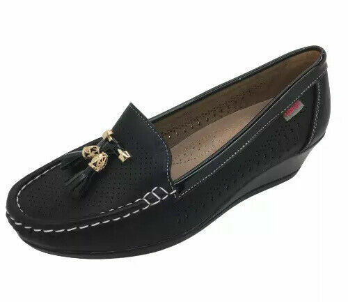 LADIES WOMENS SHOES LOAFERS BLACK WEDGE WORK CASUAL COMFY SOLE NEW SIZES
