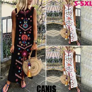 US-New-Womens-Sleeveless-Boho-Print-Party-Casual-Maxi-Dress-Long-Dresses-Summer